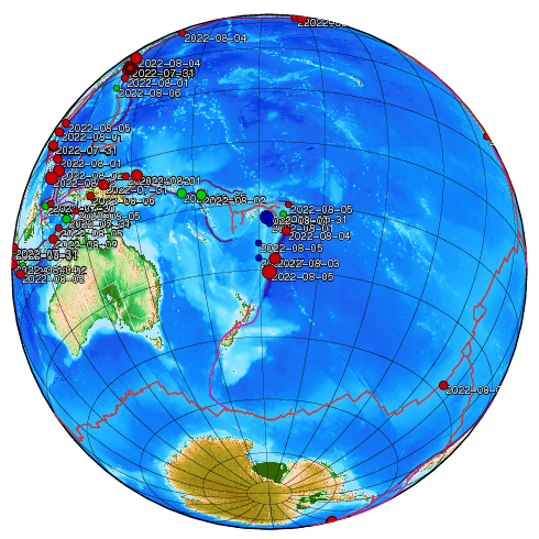 Earthquakes of the last week. Globe is centered on the last earthquake.